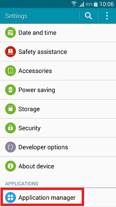 where is application manager in settings