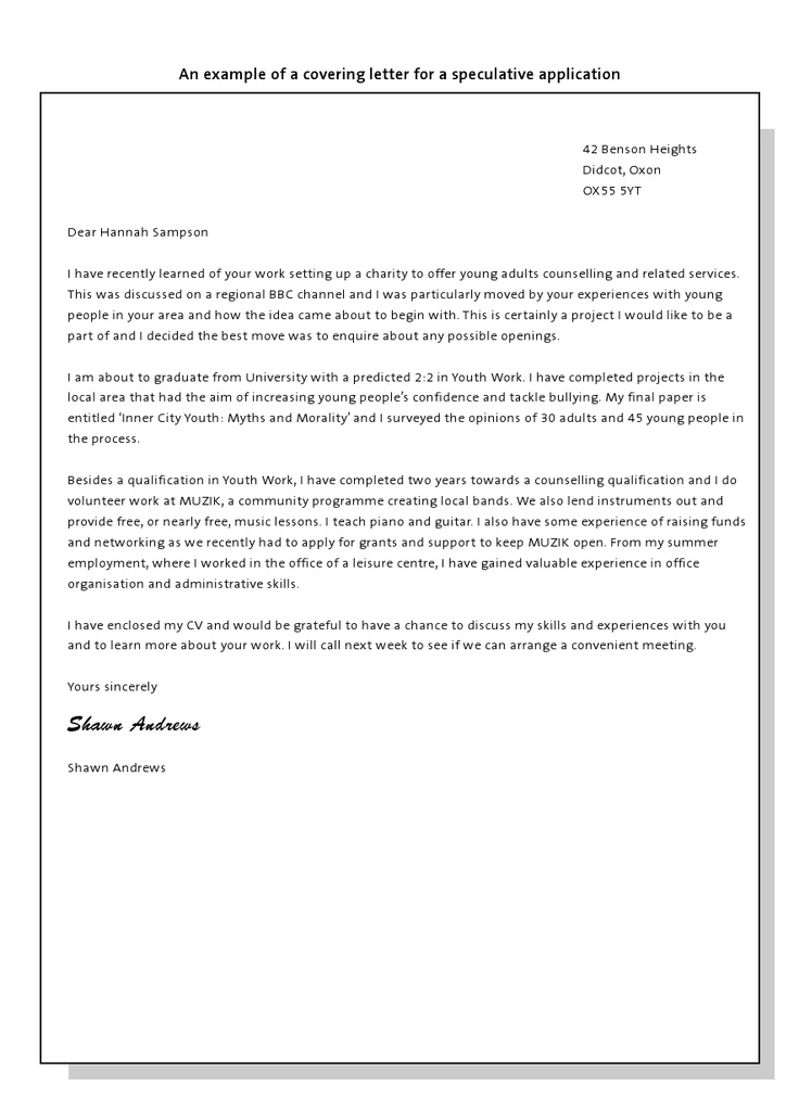 speculative application cover letter example