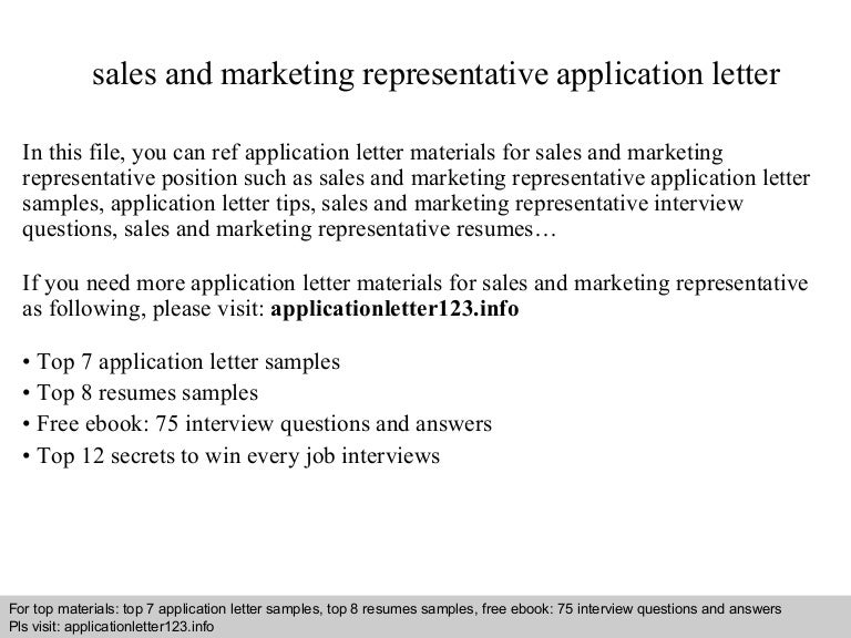 application letter for sales representative