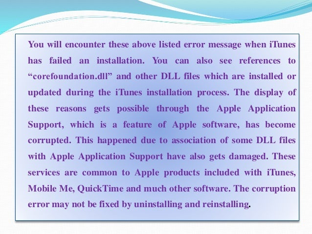 the installation of apple application support failed