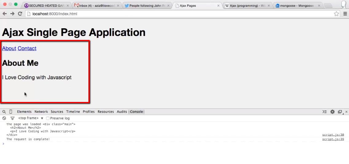 single page application jquery ajax