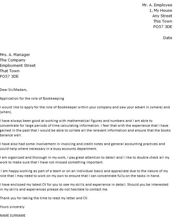 application letter for bookkeeper position
