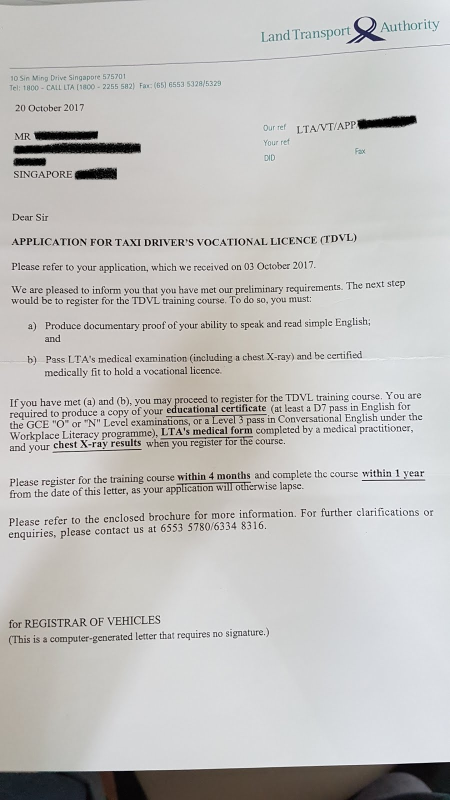 application for private hire driver licence