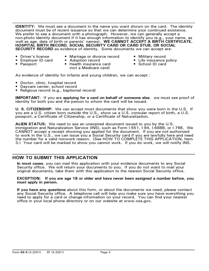 social security card application form
