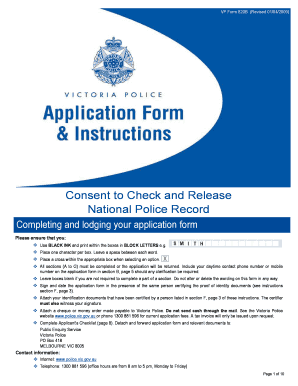 national police record check application form