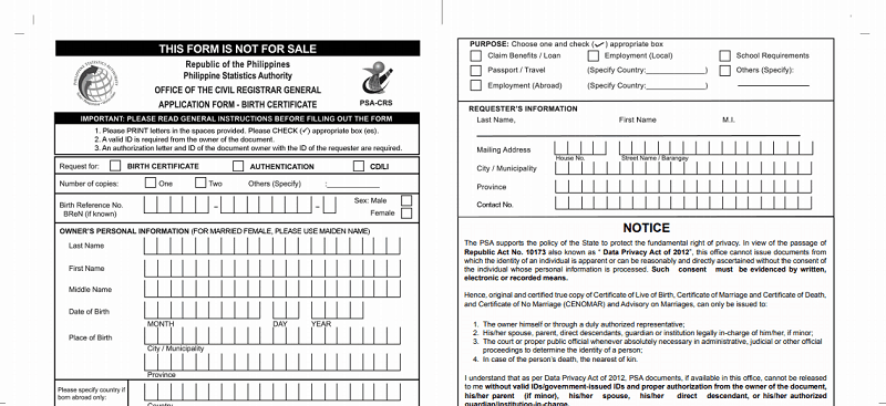 nso birth certificate application form