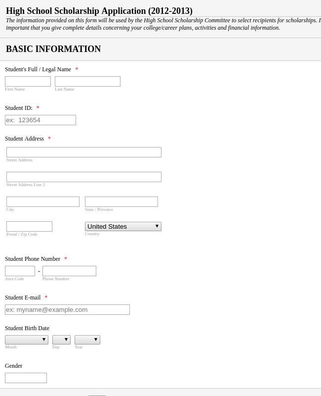 sandringham high school application forms