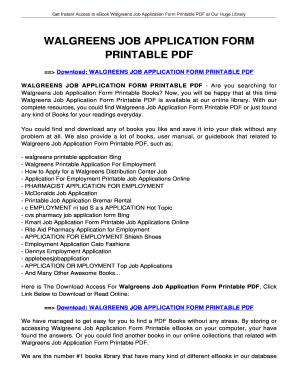 walgreens job application online form