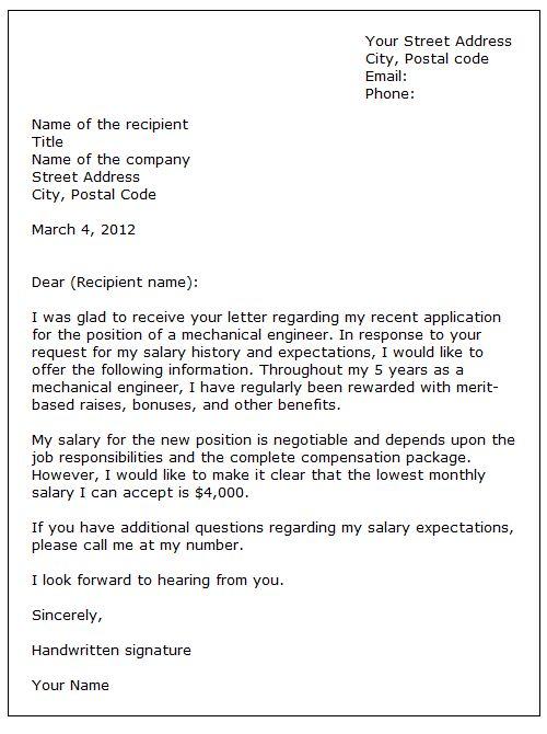 formal letter writing for job application