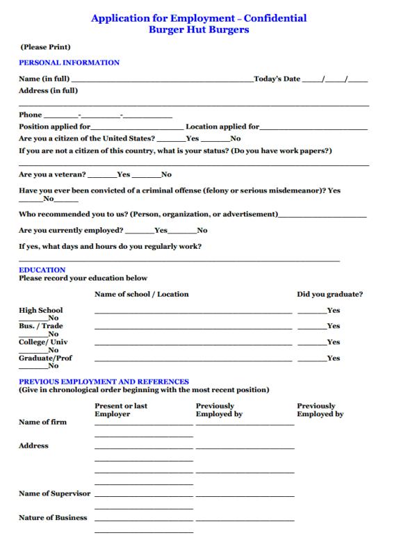 job interview application form sample
