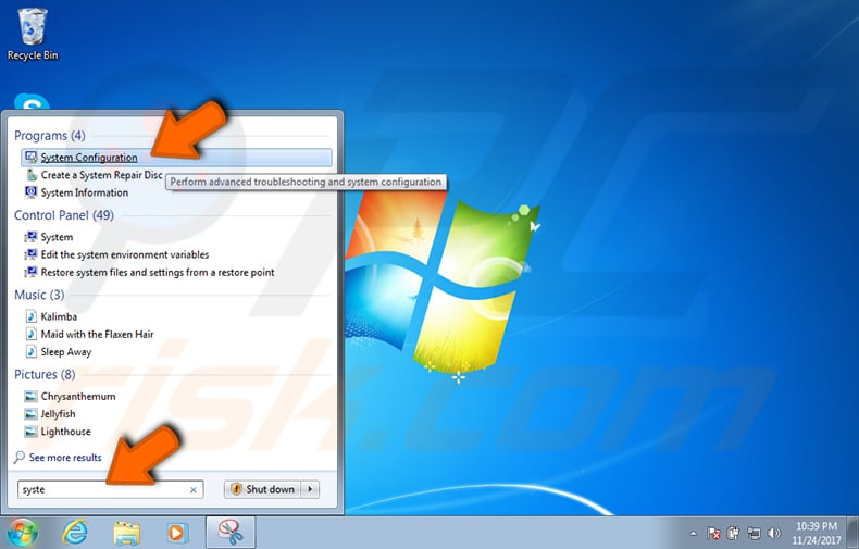 how to change startup applications windows 7