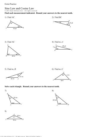 law of sines and cosines applications worksheet