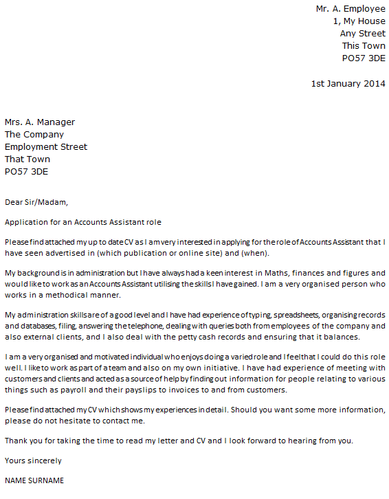 sample application letter with work experience
