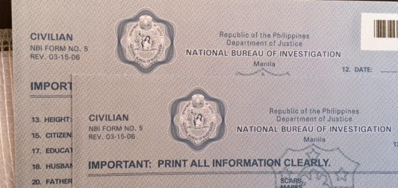 nbi clearance application form philippines