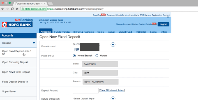 hdfc net banking application form for individual