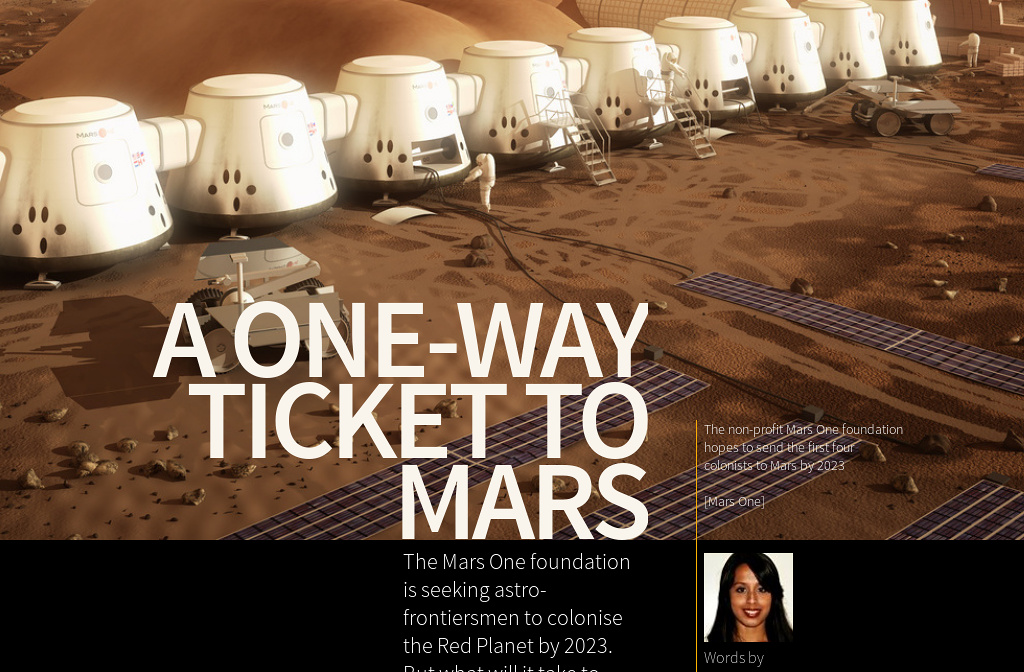 one way ticket to mars application