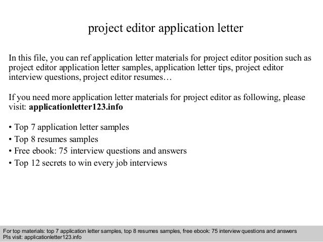 application letter for the post of an editor