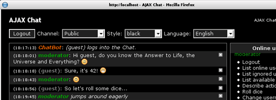 chat application in php using ajax