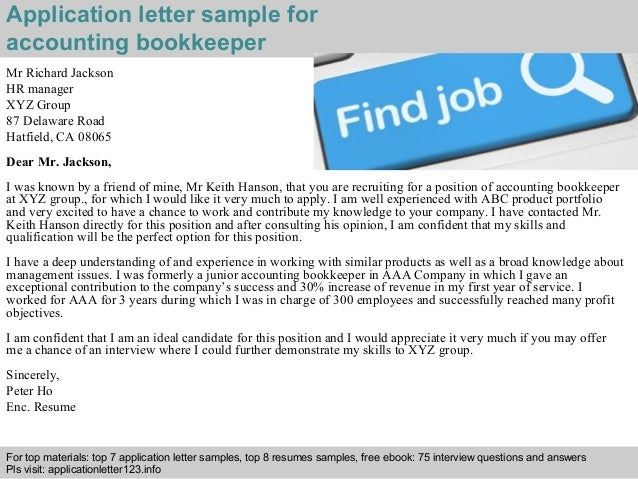 application letter for bookkeeper position