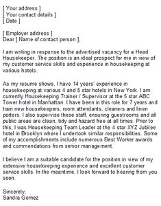 cover letter for hotel job application