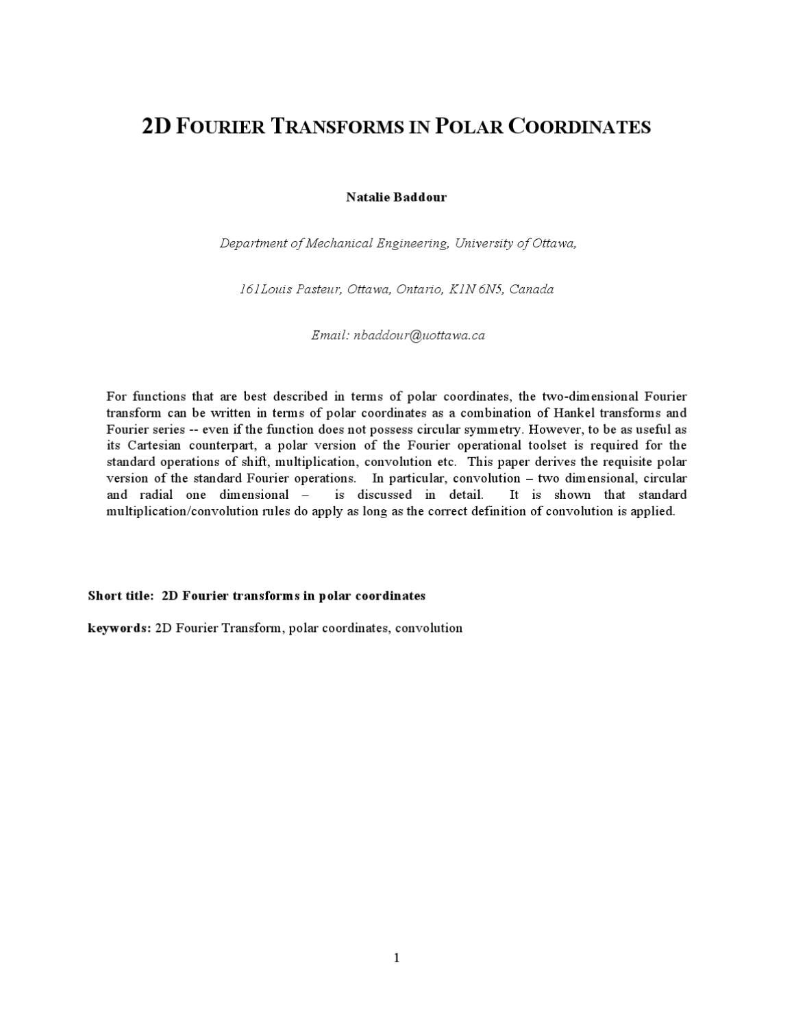 application of fourier transform in engineering