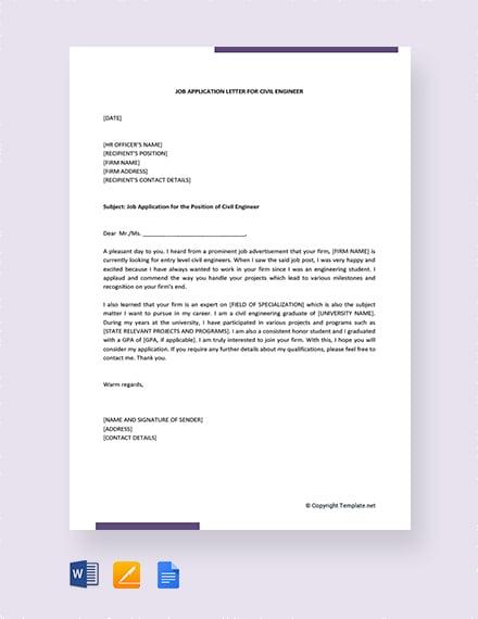 job application letter for mechanical engineer fresher