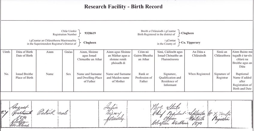 application for birth certificate ireland