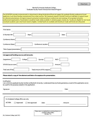travel grant application letter sample