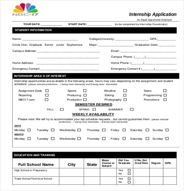 application for summer internship sample