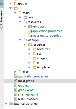 folder structure for web application in java