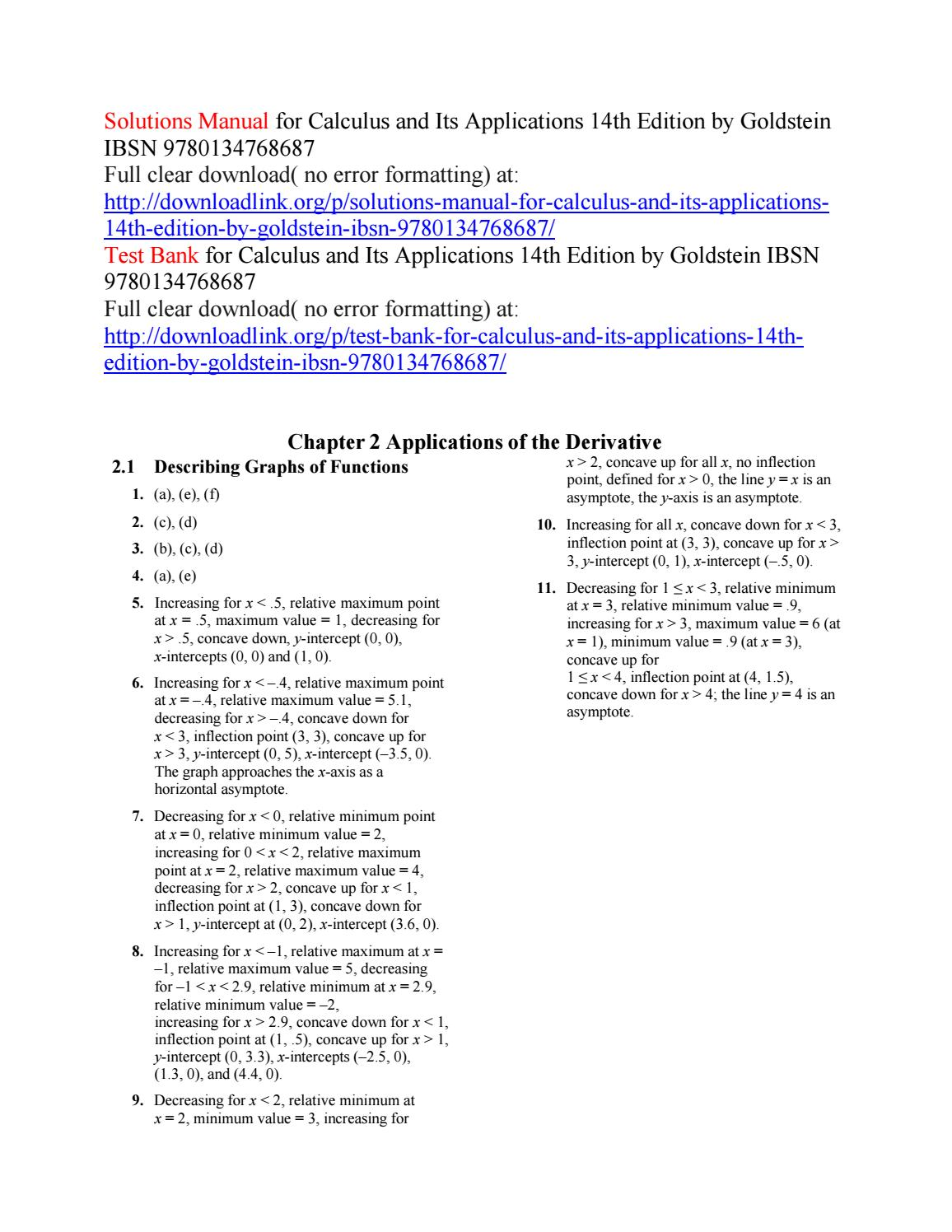 calculus and its applications answers