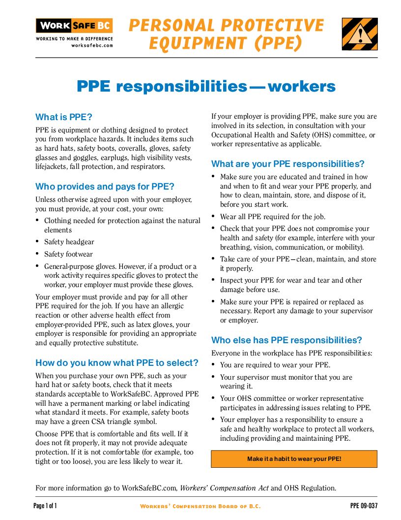 information about ppe applicable to the health industry