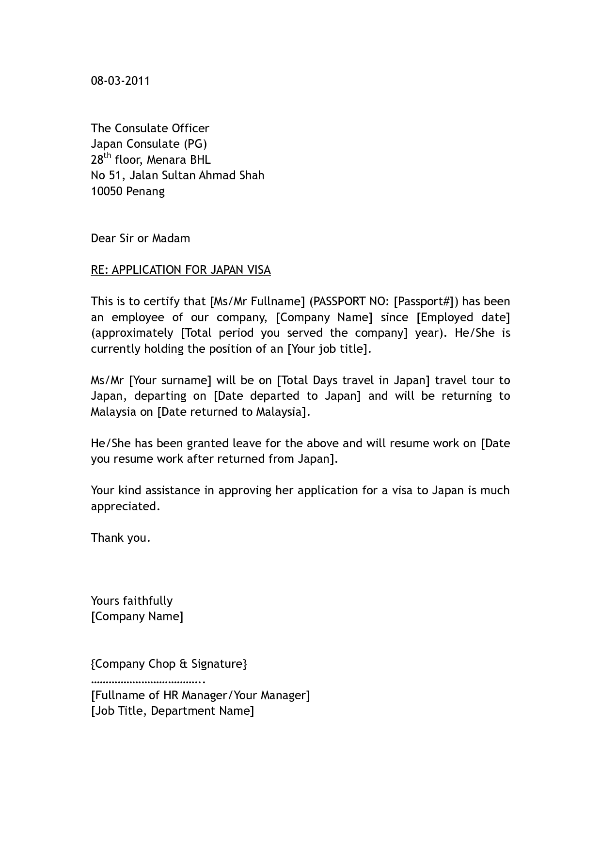covering letter for business visa application