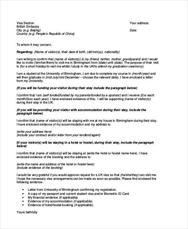 sample application for accommodation letter