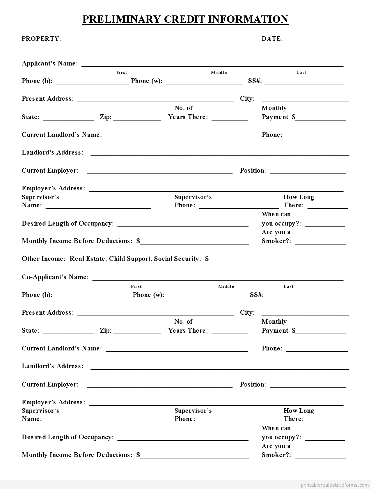 credit application form australia template