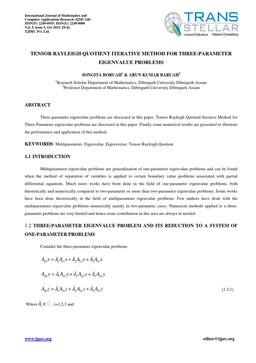 application of eigenvalue and eigenvector