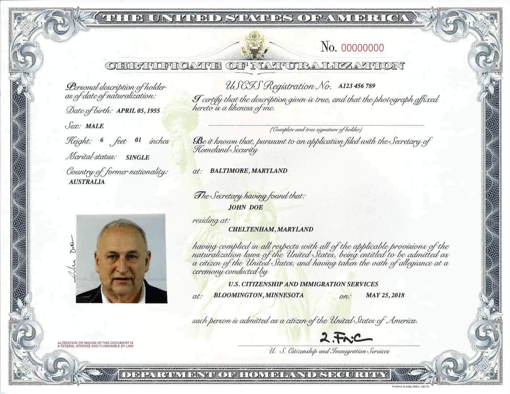 application for duplicate citizenship certificate