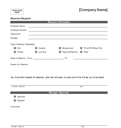 leave application form sample for office
