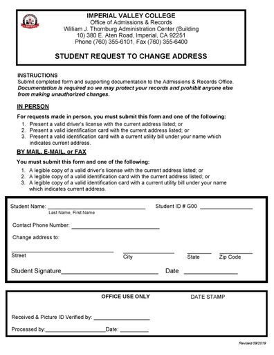change of school application form