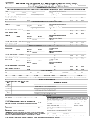 application for certificate of title