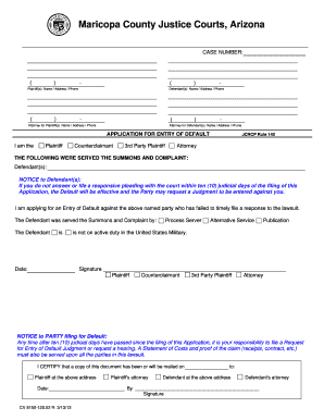 application for entry of default