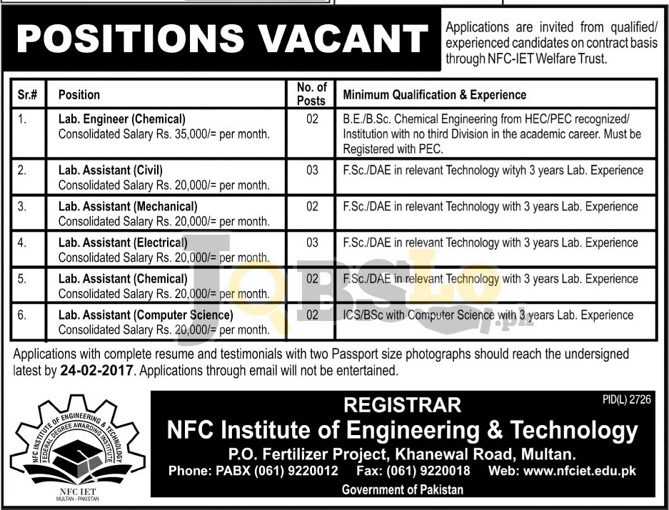 application for lab assistant post