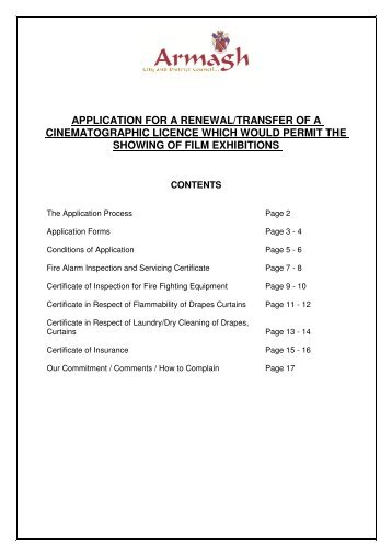 application for renewal of licence