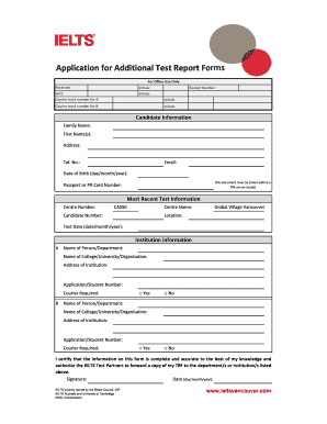 application for the issue of additional trfs