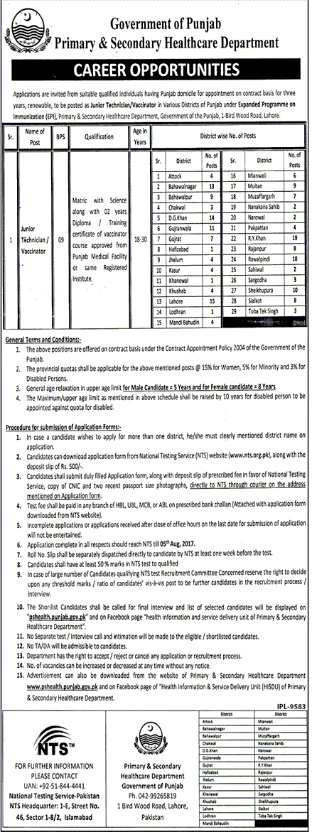 application form for lab technician