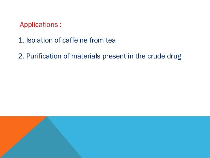 application of sublimation in pharmacy