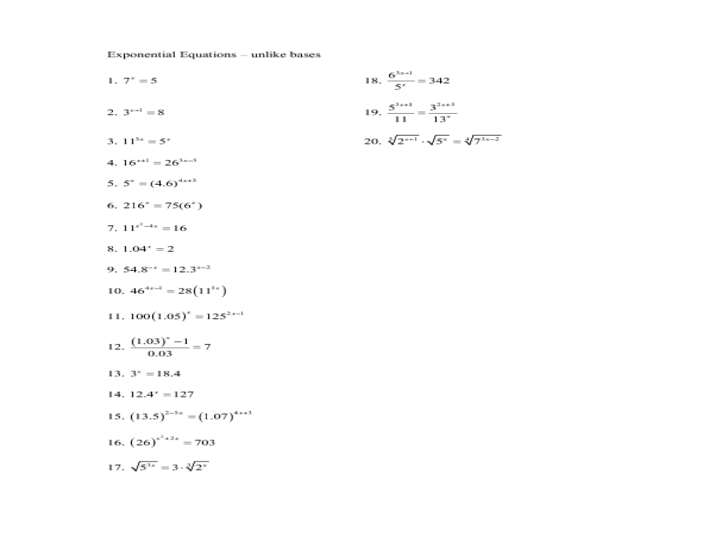 applications of exponential and logarithmic functions worksheet