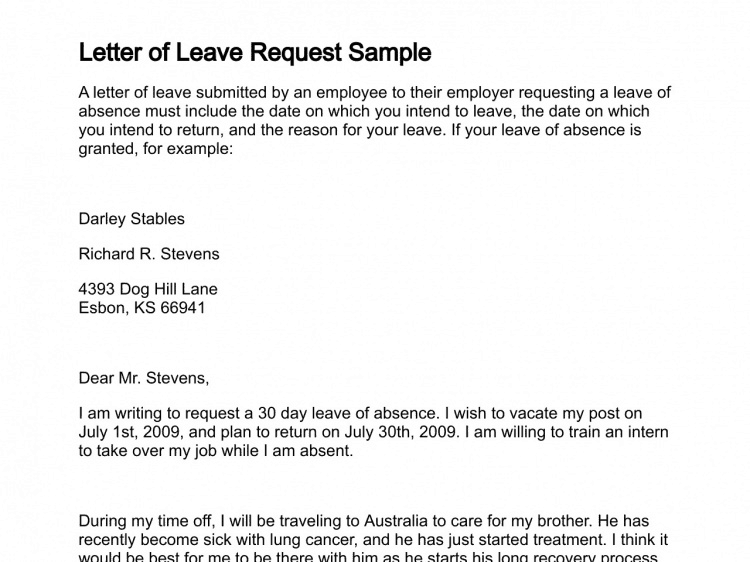 sick leave application letter sample