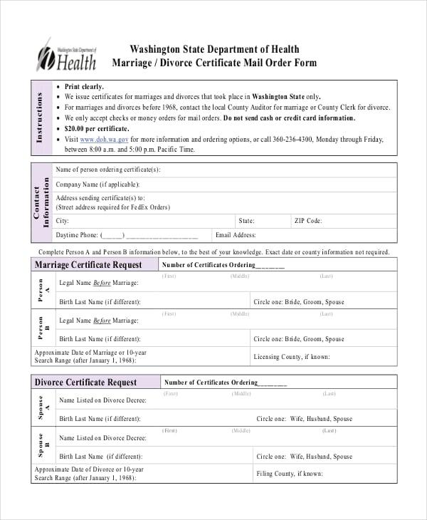 divorce application form free download