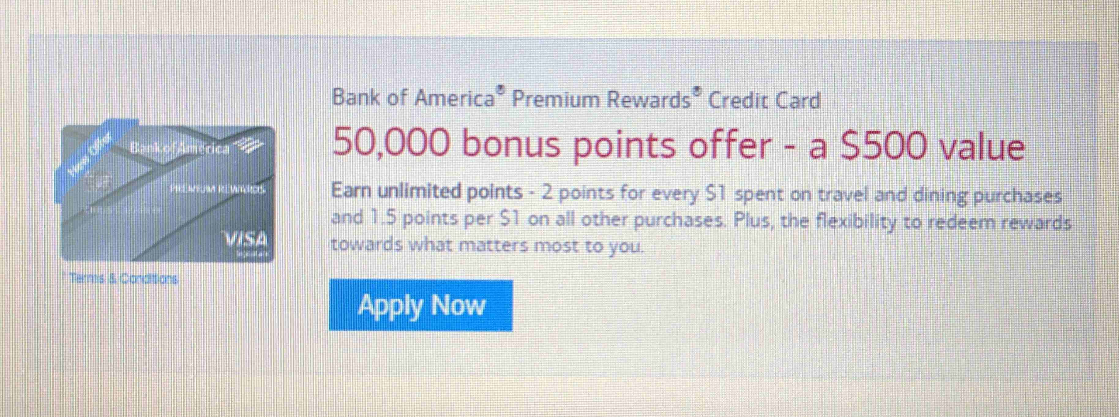bank of america travel rewards application